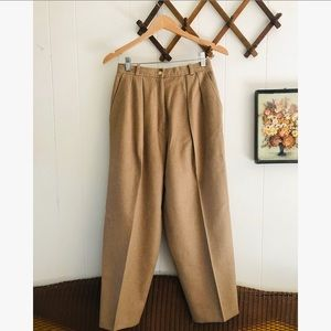Vintage Tan Wool High Waisted Trousers